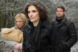 They may be escaping one wooded area for another, but they certainly aren't out of danger yet. (l-r) Claire Coffee as Adalind Schade, Mary Elizabeth Mastrantonio as Kelly, Damien Puckler as Meisner -- (Photo by: Scott Green/NBC)