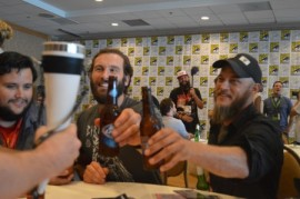 Clive Standen and Travis Fimmel share a beer at their press room interview.