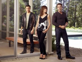 SATISFACTION -- Season:1 -- Pictured: (l-r) Blair Redford as Simon, Stephanie Szostak as Grace Truman, Matt Passmore as Neil Truman -- (Photo by: Robert Ascroft/USA Network)