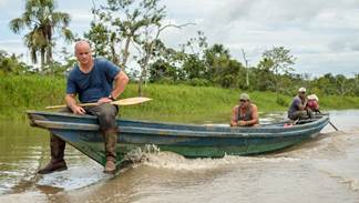"""Left to right: """"Hotel Amazon's"""" Stephan Jablonski and Rusty Johnson with local tour guide along the Amazon River"""