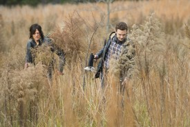 How frightening was it to see Daryl and Aaron trapped in a car surrounded by walkers?