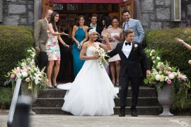 (L-R, B-F) Alex Fernandez, Roselyn Sanchez, Ana Ortiz, Drew Van Acker, Edy Ganem, Judy Reyes, Ivan Hernandez, Dania Ramirez and Grant Show star in Lifetime's hit series Devious Maids on Lifetime. Photo by Bob Mahoney