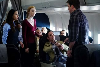 L-R: Flight Attendant Farrah, Alexis, Aaron, and Castle - Castle realizes the so-called $13 million dollar watch is fake.