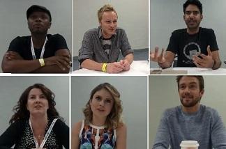 L-R (top row): Malcolm Goodwin, David Anders, Rahul Kohli. L-R (bottom row): Diane Ruggiero-Wright, Rose McIver, Robert Buckley