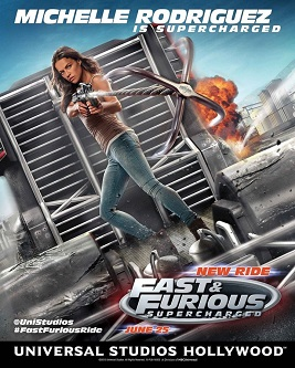 "UNIVERSAL STUDIOS HOLLYWOOD - THEME PARKS -- Pictured: Michelle Rodriguez in ""Fast & Furious - Supercharged"" -- (Photo by: Universal Studios Hollywood)"
