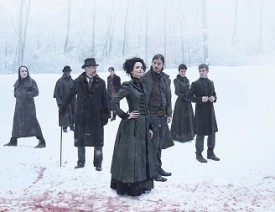 Rory Kinnear as the creature, Danny Sapani as Sembeme, Timothy Dalton as Sir Malcolm, Reeve Carney as Dorian Gray, Eva Green as Vanessa Ives, Josh Hartnett as Ethan Chandler, Helen McCrory as Evelyn Poole and Harry Treadaway as Dr. Victor Frankenstein in Penny Dreadful (Season 2)  - Photo: Jim Fiscus/SHOWTIME