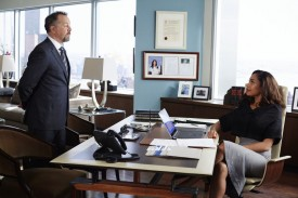 "SUITS -- ""Uninvited Guests"" Episode 509 -- Pictured: (l-r) David Costabile as Daniel Hardman, Gina Torres as Jessica Pearson -- (Photo by: Shane Mahood/USA Network)"
