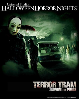 "Pictured: ""Terror Tram: Survive the Purge"" Key Art -- (Photo by: Universal Studios Hollywood)"